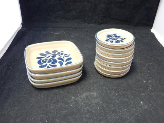 Pfaltzgraff Co Pottery, Lot of Coasters and Sandwich servers