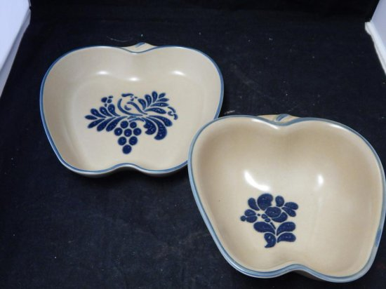 Pfaltzgraff Co Pottery Apple shape dish and bowl