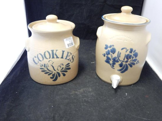 Pfaltzgraff Co Pottery Cookie Jar and Beverage Jar with Dispenser