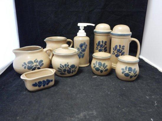 Pfaltzgraff Co Pottery, Lot of 9 Kitchen accessories