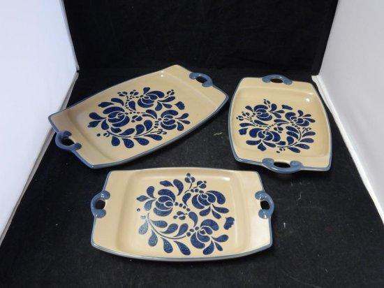 Pfaltzgraff Co Pottery, Lot of 3 Serve ware Platters