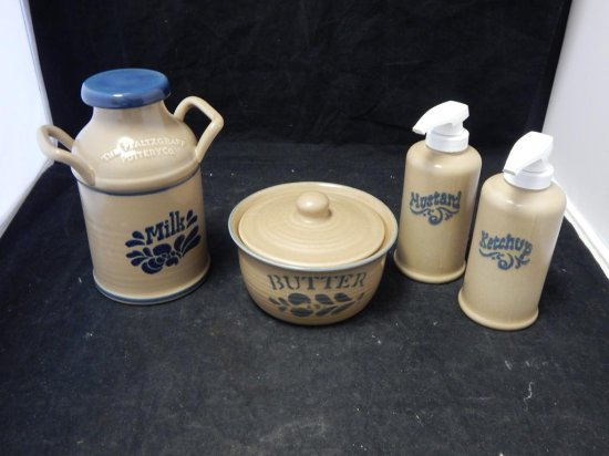 Pfaltzgraff Co Pottery, Tray Lot of Condiment servers