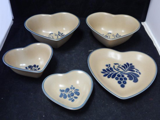Pfaltzgraff Co Pottery, assorted Heart shape dishes and platters