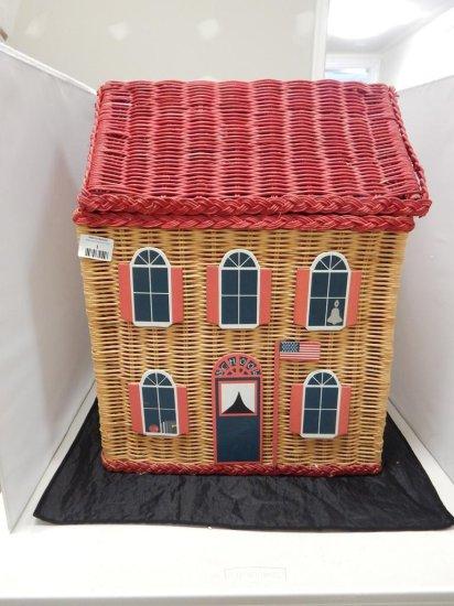 LARGE WICKER DOLL HOUSE STORAGE BASKET