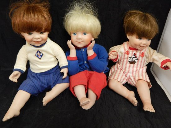 LOT OF 3 PORCELAIN DOLLS 2 BY STEELE AND 1 BY ELSE HUTCHENS