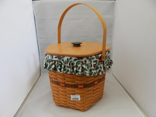 Longaberger large hexagon basket with lid and handle