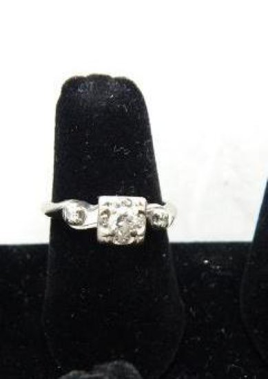 14KT White Gold stamped 7 Diamond Engagement Ring size 7.5