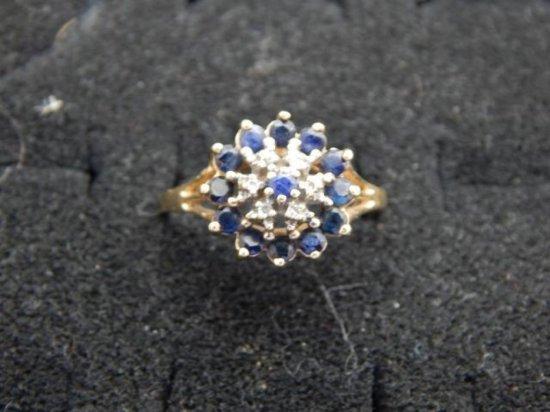 14kt Gold stamped 1 carat sapphire & diamond Ring *damaged back size 11