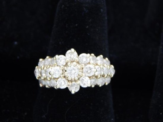 10 Kt Gold Cluster Diamond Ring with Appraisal $3,000.00 size 8.5