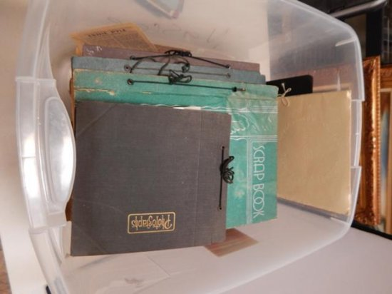 LOT OF 7 VINTAGE SCRAPBOOKS FROM THE 1930'S AND OLD PHOTO ALBUM