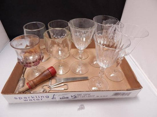 Lot of 10 assorted wine and goblet Glasses (some vintage)(some matching) and 6 vintage bar