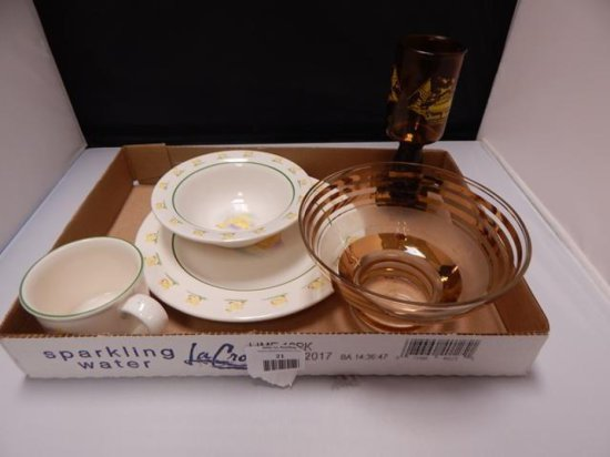 Lot of 5 Vintage assorted glass pieces including M.R. Ducklings cup bowl and plate