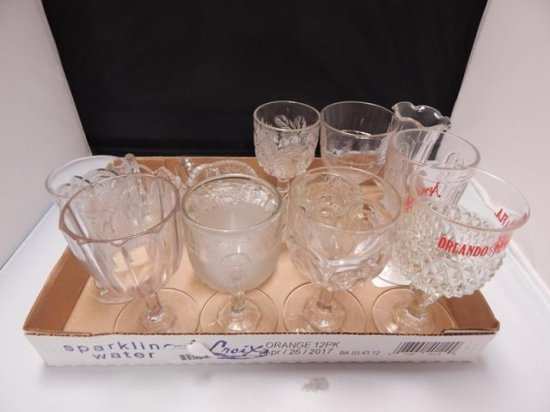 Lot of 13 Vintage Assorted glass pieces including goblets and creamers and sugar dishes