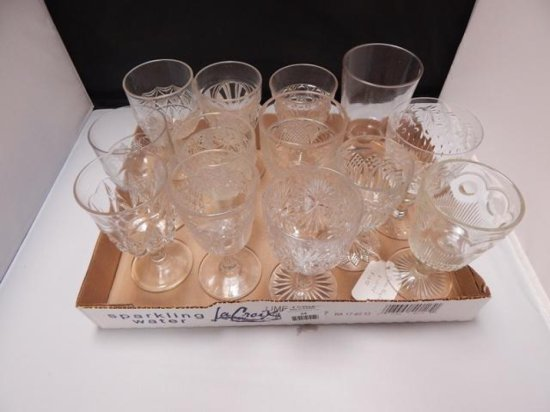 Lot of 13 Vintage Assorted glass goblets with some etching and other details