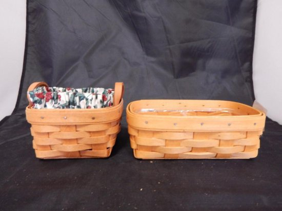 Lot of 2 Longaberger Baskets: 1994 Square Basket with two leather handles and Serving Solutions