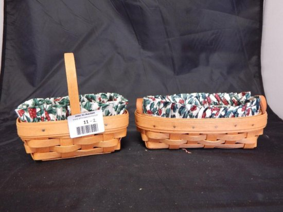 Lot of 2 Longaberger Baskets: 2000 Parsley Booking Basket with plastic and fabric liner and 1994