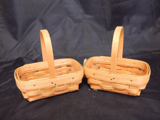 Lot of 2 Longaberger 1999 Rectangle Baskets each with plastic liners