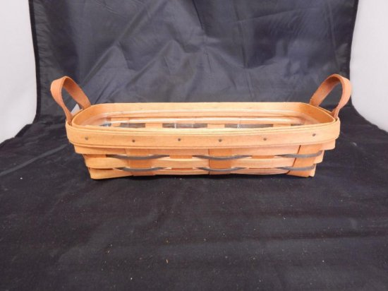 Longaberger 1994 Rectangle with plastic liner and two leather handles