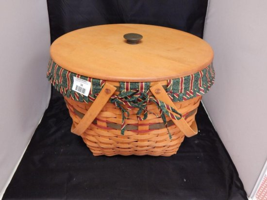 Longaberger 1994 Large Round Basket with Lid, Fabric liner, and plastic protector