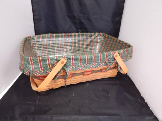 Longaberger 1996 Large Rectangular Basket with fabric lining and plastic protector