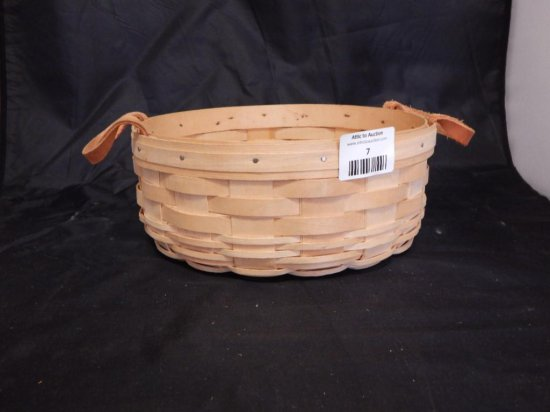 Longaberger 1998 Round Basket with two leather handles