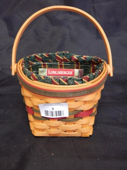 Longaberger 1998 Little Joy hanging Basket with Fabric Liner and plastic protector