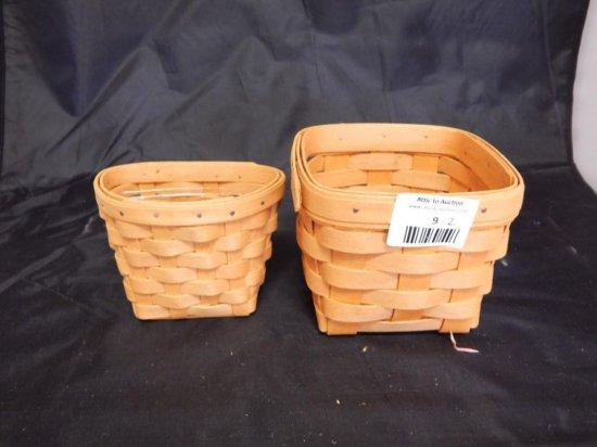 Lot of 2 Longaberger Baskets: 1998 Hanging Basket with plastic liner and 1999 Square Basket