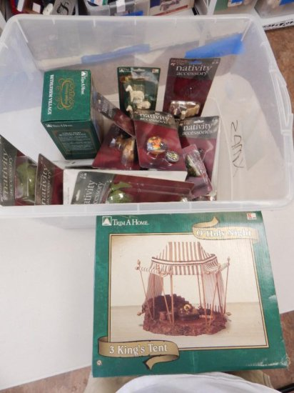 Tote Lot of Nativity scenes & figurines + tray lot of NEW Liberty falls houses in boxes