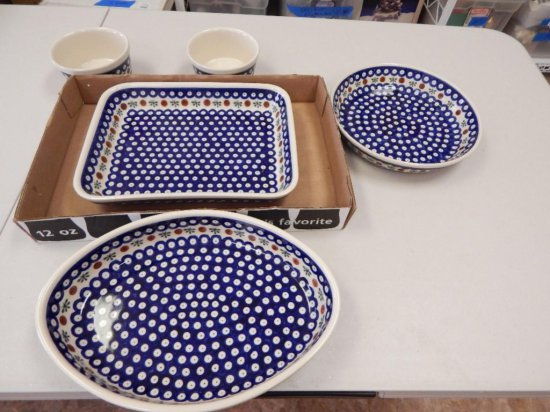 Lot of 5 matching design Polish Pottery baking serving