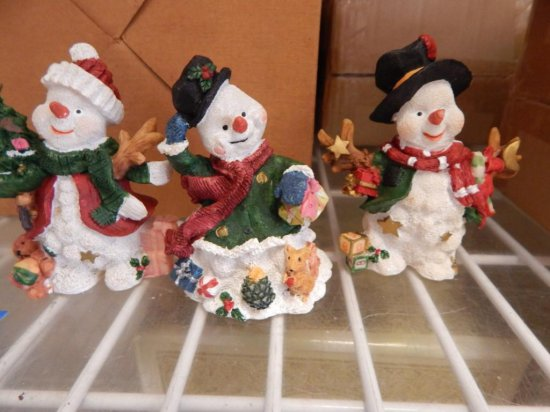 Shelf lot of 17 snowmen figurines, lights