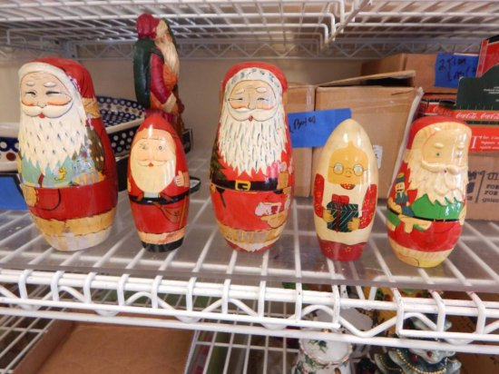 Tray lot of 5 nesting wood painted santas