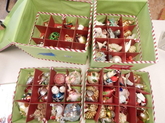 Lot of 4 Christmas ornament storage boxes ( 2 are new in packaging)