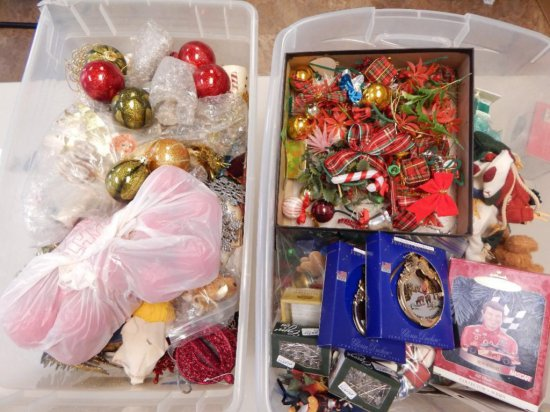Lot of 2 large totes of Christmas ornaments and assorted dcor
