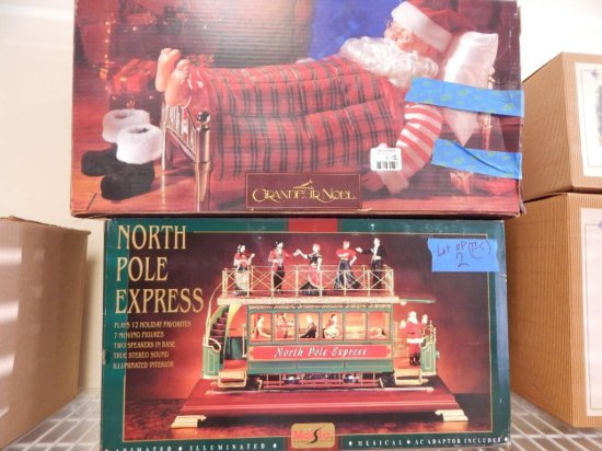 Lot of 2 Large Christmas Dcor Santa & Train