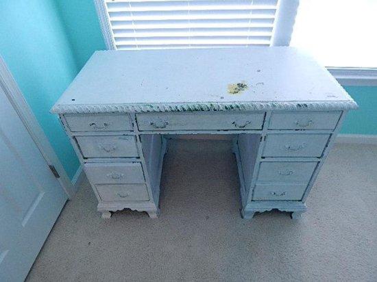Antique painted white Wooden desk