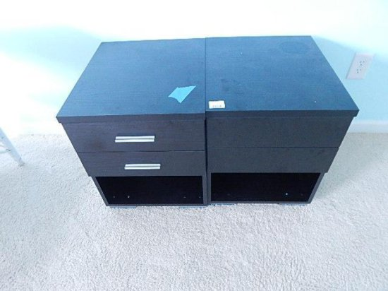 Two black laminate storage units