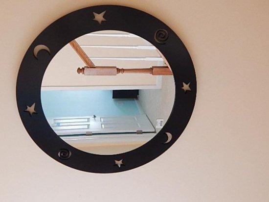 Round stars, moon cutout mirror