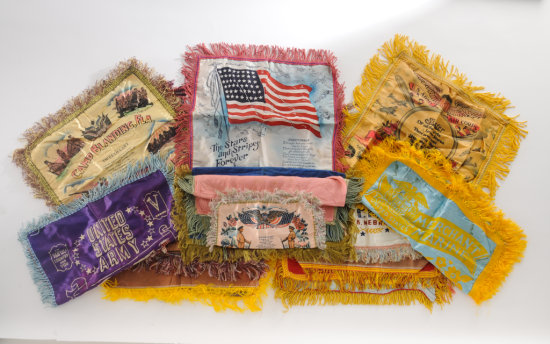 Lot of 14 Mostly WWII Sweetheart Pillow Cases
