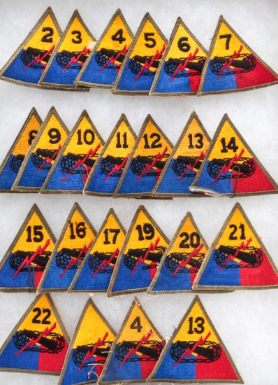 Lot of Twenty-Three (23) Armored Division Patches