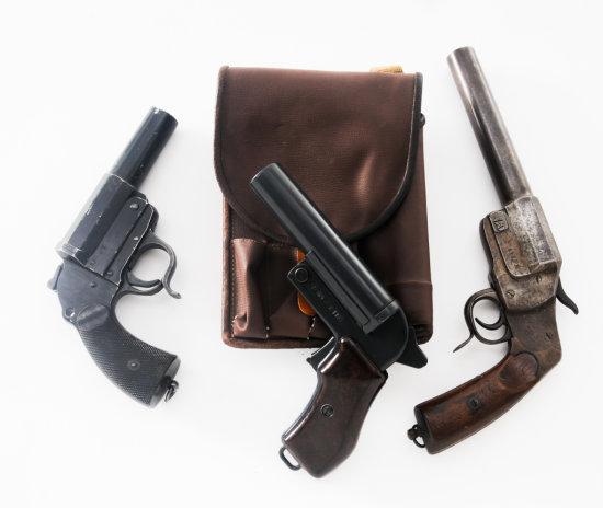 Lot of Three (3) Mid-Century European Flare Guns