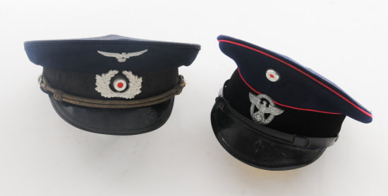 Lot of Two (2) WWII German Visor Caps