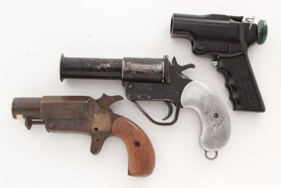 Lot of Three (3) Mid-20th Century Flare Guns