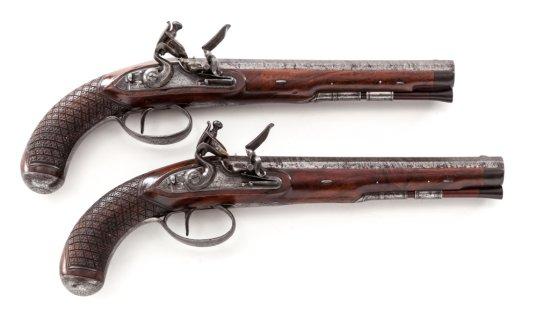 Pr. Early Flintlock Dueling Pistols, by D. Egg