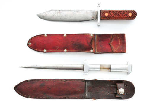 Lot of 2 WWII Era Theater-Made Fighting Knives