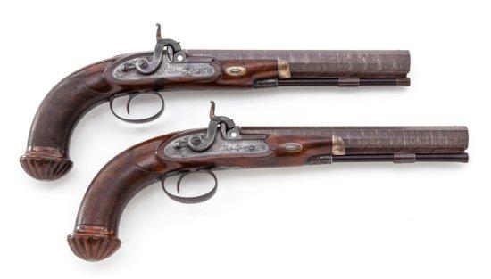 Fine Pair Provincial English Perc. Target Pistols