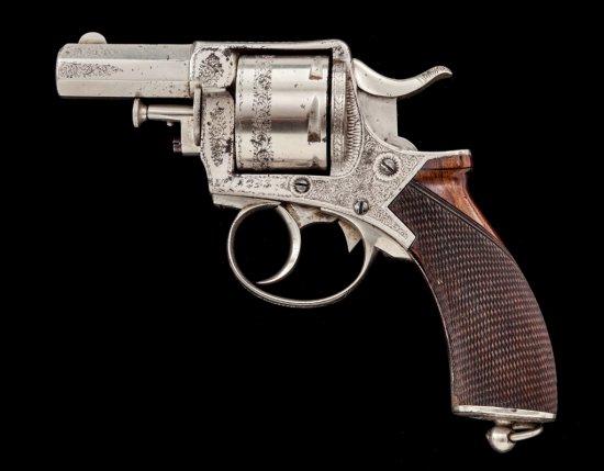 Nickel Banknote Eng'd English Bull Dog DA Revolver