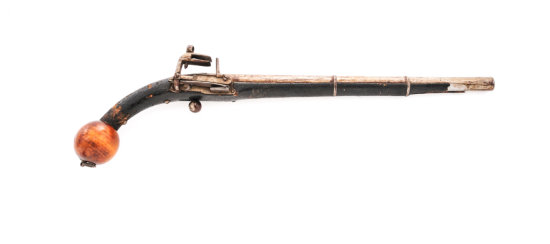 19th Century Caucasian Miquelet Ball-Butt Pistol