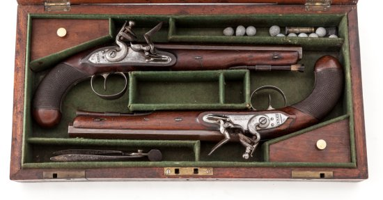 Historical Cased Set of Revolutionary War Era Flintlock Pistols