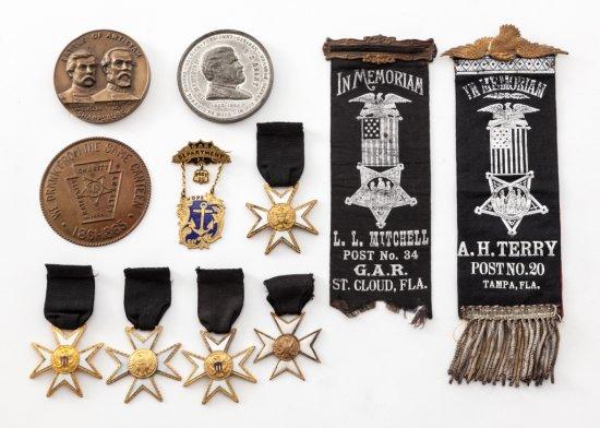 5 Civil War GAR Funeral Mourning Medals, etc.