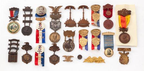 Lot of 22 GAR Encampment Ribbons/Badges
